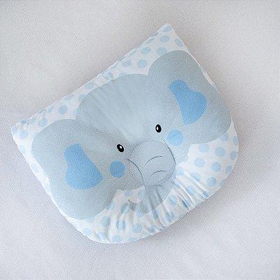 Travesseiro Almofada Rn Bebê Anatômico Para Bebê- Elefante Azul