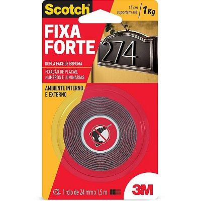Fita adesiva dupla face espuma Fixa Forte 24mm x 1,5m