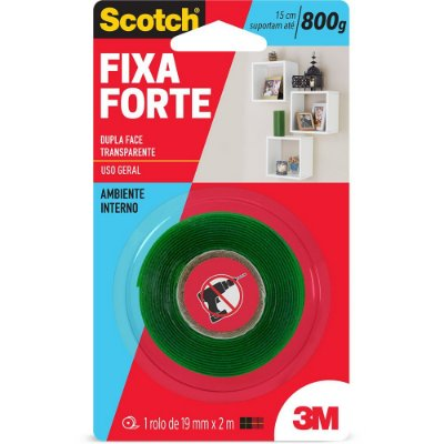 Fita adesiva dupla face fixa forte Scotch 19mm x 2m