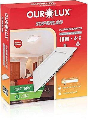 Plafon led quadrado embutir 18w 2700k biv