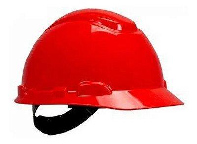 Capacete com aba frontal 3m catraca h-700 vermelho