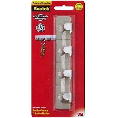 Gancho adesivo multiplo 4 cabides cromado até 1kg scotch