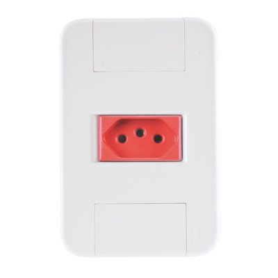 Conjunto tablet branco e vermelho 4x2 com 1 tomada 2p+t de