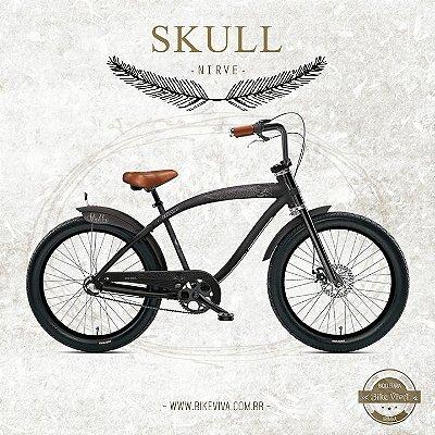 Bicicleta Retrô Nirve Skull Raw Preta