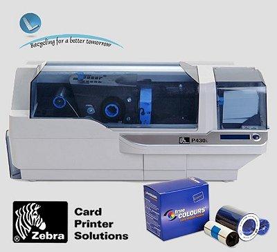Impressora de crachás Zebra P430i |Frente Verso + Rede|