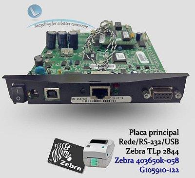 Placa principal Zebra TLP2844 com rede Zebranet