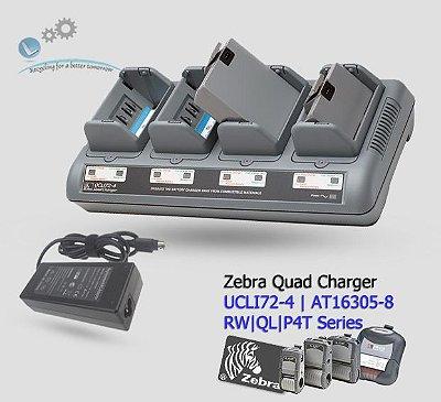 Carregador de Bateria 4 Posições|Zebra RW/QL/P4T | UCLI72-4