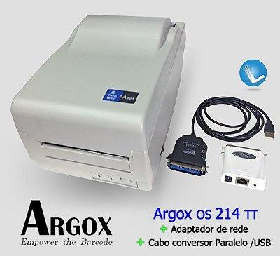 Impressora Argox OS 214 TT + Adaptador de Rede