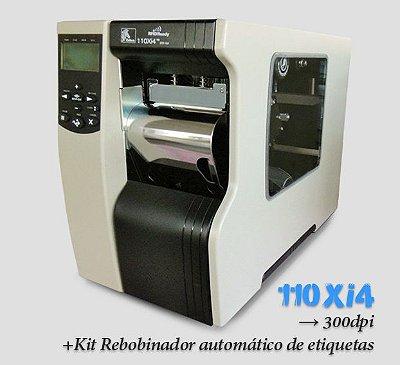 Impressora Industrial Zebra 110Xi4, 300dpi → com Rebobinador & Peel off