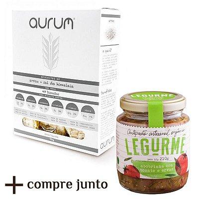 Kit de Antepasto orgânico de Abobrinha com Tomate e Ervas + Biscoito de Arroz com Sal Rosa do Himalaia