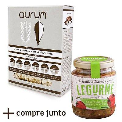 Kit de Antepasto orgânico de Abobrinha com Tomate e Ervas + Biscoito de Arroz com Tapioca e Sal Rosa do Himalaia