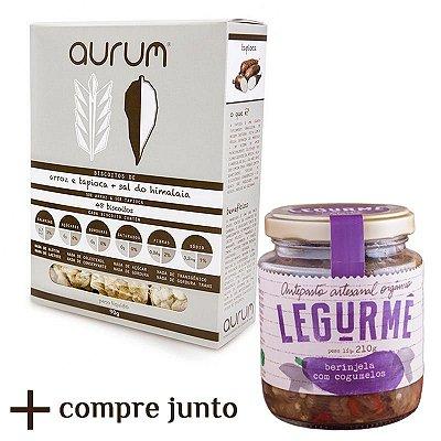 Kit de Antepasto orgânico de Berinjela com Cogumelos + Biscoito de Arroz com Tapioca e Sal Rosa do Himalaia