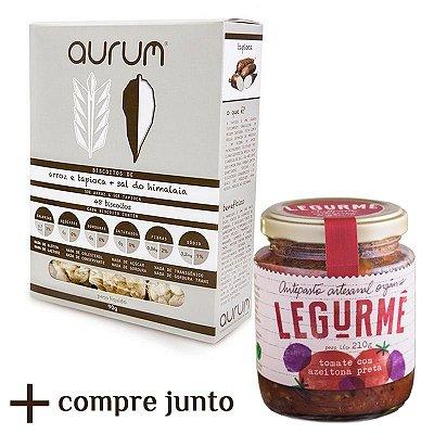 Kit de Antepasto orgânico de Tomate Assado com Azeitona Preta + Biscoito de Arroz com Tapioca e Sal Rosa do Himalaia