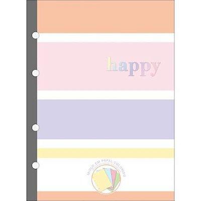 Refil Tiliflex para Caderno Argolado - Colegial Happy Colors 80 Folhas