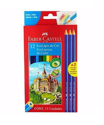 Lápis de Cor 12 Cores Faber Castell + 3 Lápis Preto