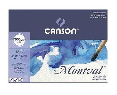 Bloco Aquarela Montval T Fina 24X32Cm 12Folhas 300G Canson