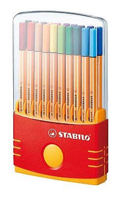 Caneta Stabilo Point 8820-03 Estojo Acrílico Color Parade com 20 unidades