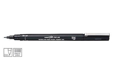 Caneta Nankin Uniball Uni Pin Fine Line BR-200 - Brush Preta