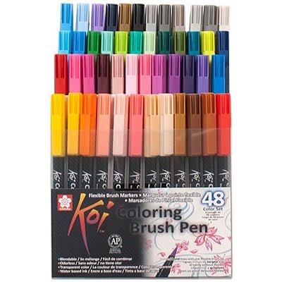 Pincel Artístico Koi Brush Pen Conjunto com 48 cores XBR-48