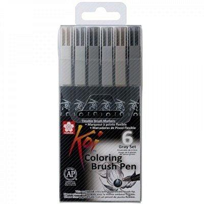 Caneta Brush Koi Coloring Sakura Conjunto C/ 6 Un Cinza XBR-6
