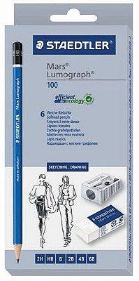 Kit Lapis Graduado Staedtler Mars Lumograph C/6 + Borr + Apont