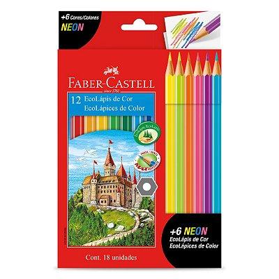 Lapis de Cor 12 Cores + 6 Cores Neon Faber Castell