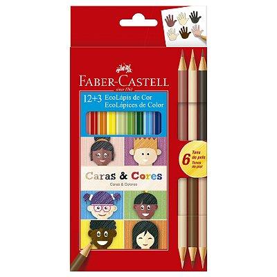 Lapis de Cor 12 Cores + 3 Lápis Bicolor Caras e Cores tons de Pele Faber Castell