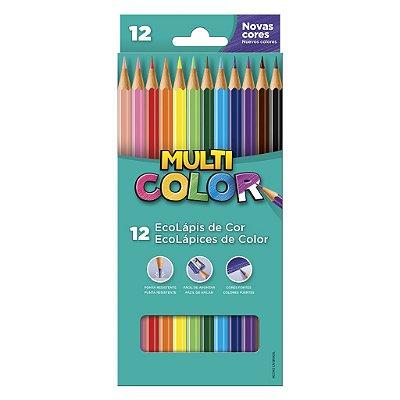 Lápis de Cor 12 Cores Super Ponta Multicolor