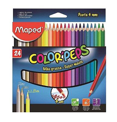 Lapis de Cor 24 Cores Maped Color Peps Mina 4mm