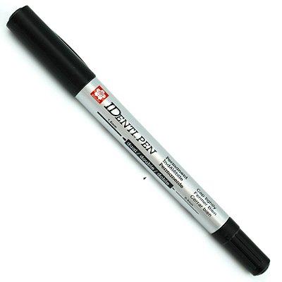Marcador Permanente Identi Pen Ponta Dupla 0.4mm e 1.0mm - Preto
