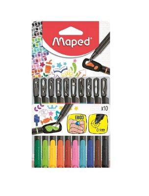 Caneta Colorida 0.4mm Maped Fineliner Graph Peps Mania c/ 10 Cores