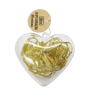 Clips Coração Dourado C/ 20 un - Tilibra