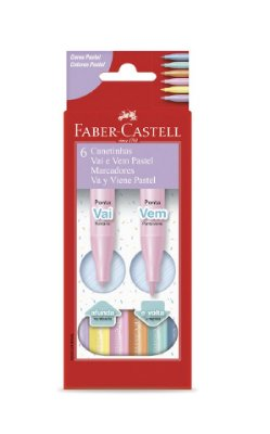 Canetinha Hidrográfica 6 Canetas Vai e Vem Pastel Faber Castell