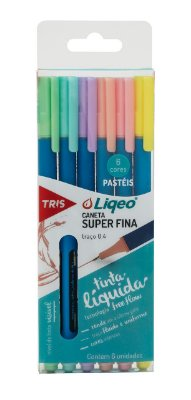 Caneta Colorida Tris Liqeo Tons Pastéis com 6 Cores