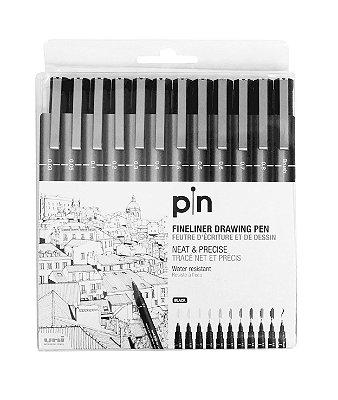Caneta Nankin Uniball Uni-Pin Estojo com 12 Pontas Pretas
