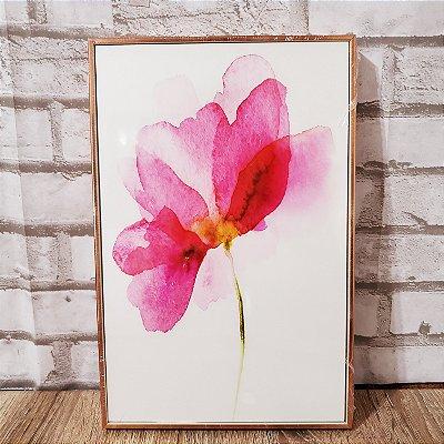 Quadro Decorativo  Flor 20 x 30 Moldura Metalizada