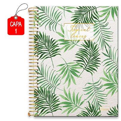 Caderno Colegial Capa Dura 10 matérias Tropical Leaves 160 Folhas Cadersil