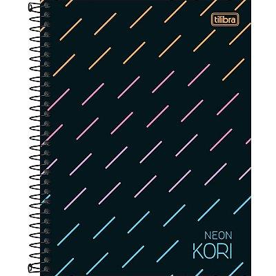 Caderno Espiral Capa Dura Colegial 1 Matéria Neon Kori 80 Folhas