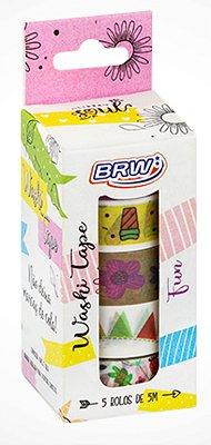 Fita Adesiva Washi Tape Brw 15mmx5m c/ 5 - Fun