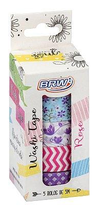 Fita Adesiva Washi Tape Brw 15mmx5m c/ 5 - Rose