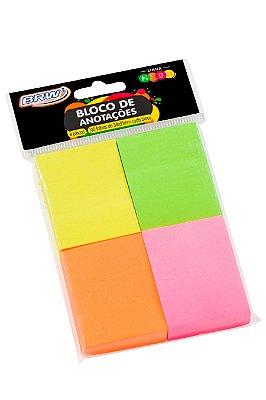 Bloco de Anotações BRW 4 Cores Neon 38 x 51mm