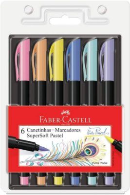 Caneta Faber Castell Supersoft Brush c/ 6 cores Pastel