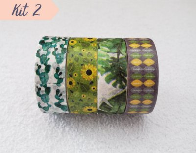 Fita Adesiva Washi Tape Estampada Kit c/4