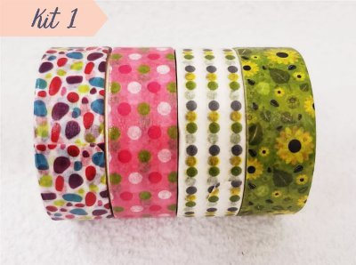 Fita Adesiva Washi Tape Estampada Kit c/4