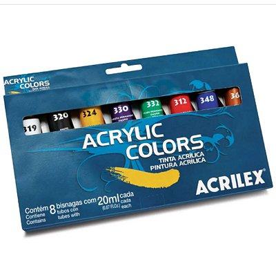 Estojo Tinta Acrílica - Acrylic Colors Acrilex com 8 Bisnagas