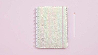 Caderno Inteligente Rosa Holográfico - Grande