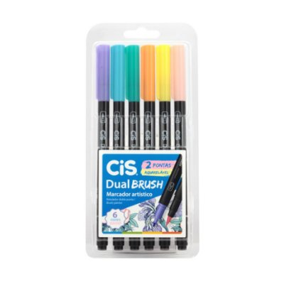 Caneta Cis Dual Brush Aquarelável 6 cores Pastel