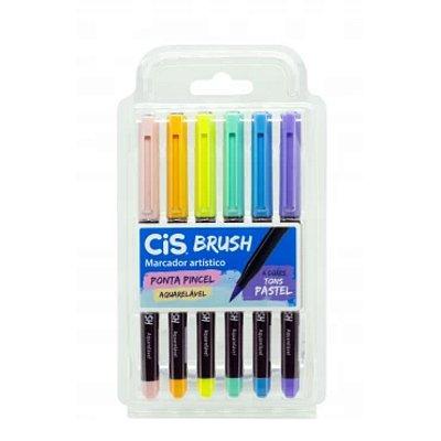 Caneta Cis Brush Aquarelável Estojo com 6 cores Pastel