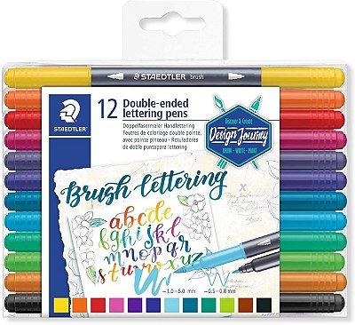 Caneta Brush Pen Lettering Staedtler Ponta Dupla 12 cores