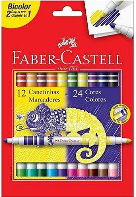 Canetinha Hidrográfica Bicolor Faber Castell 12 Canetas/24 Cores